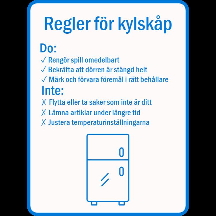 Regler för tecken på kylskåp