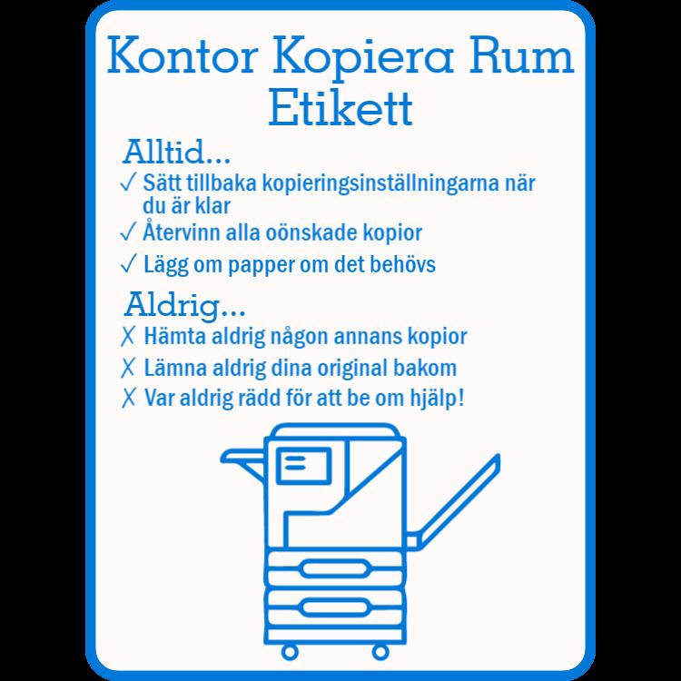 Etikett för kontors kopieringsrum