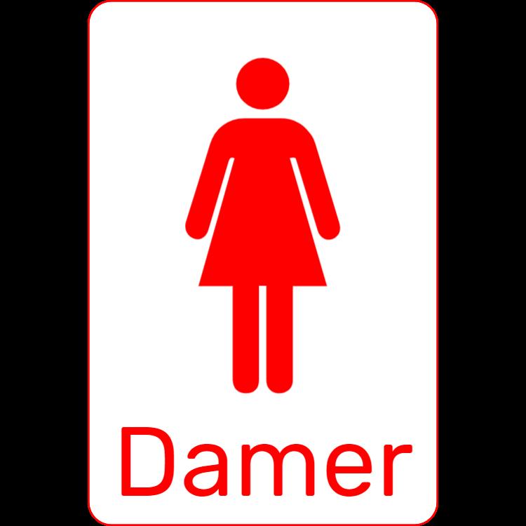 Röd toalettskylt - Damer