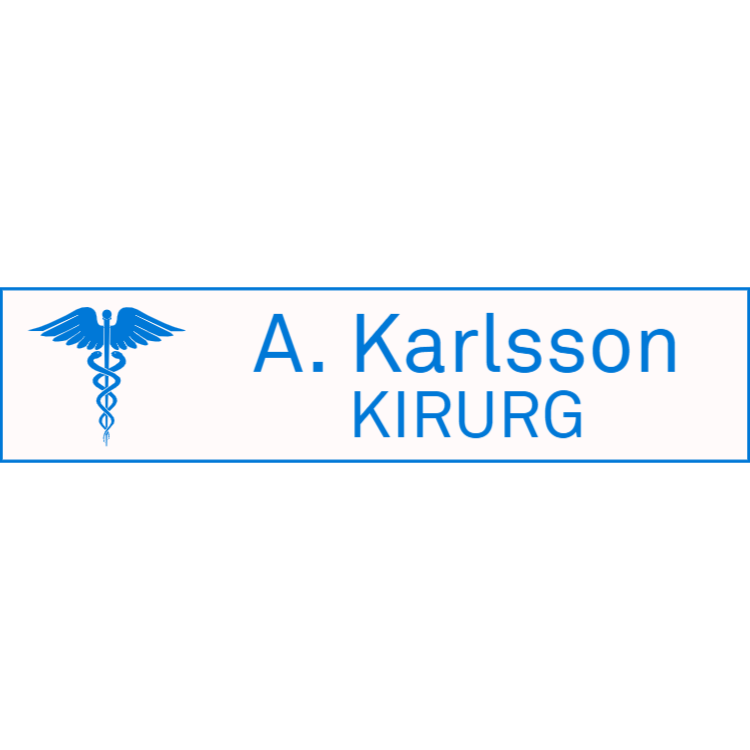Vit med blå namnplatta för läkare