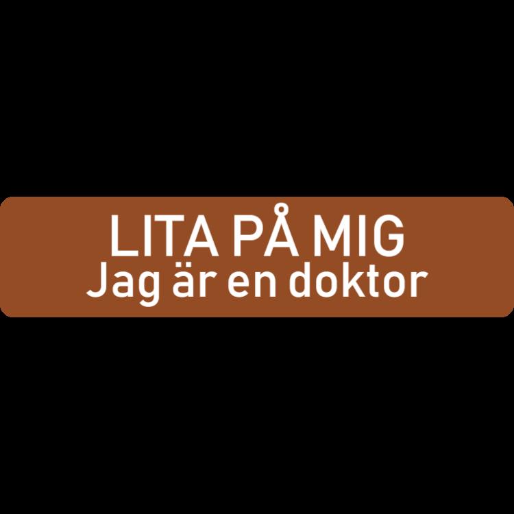 Rolig brun namnplatta för läkare