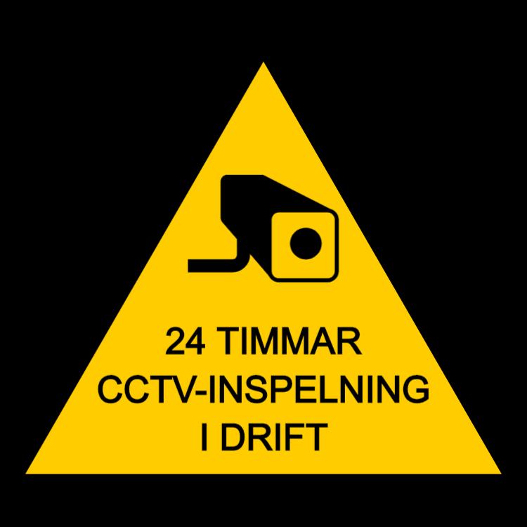 CCTV-tecken 24 timmars inspelning - triangel