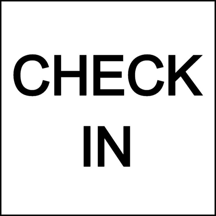 Checka in / check in
