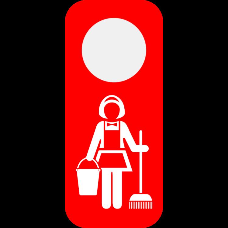 Vänligen rengör mitt rum dörrhängare - röd