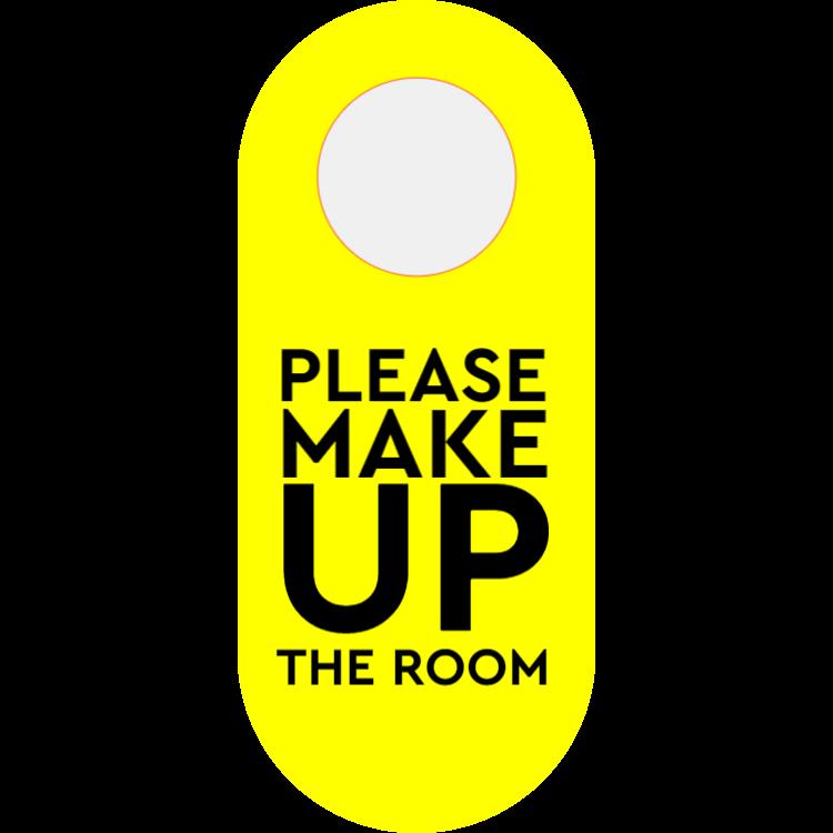 Skaffa rummet dörrhängare - gul