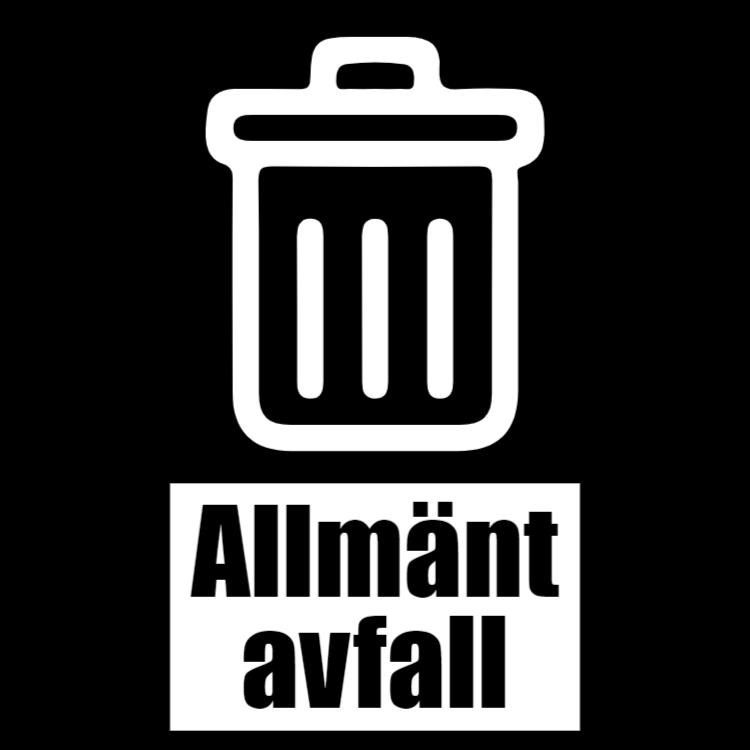 Svart klistermärke för  allmän avfall