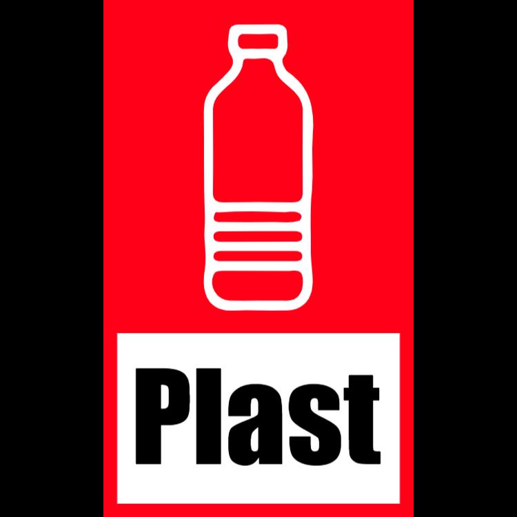 Röd klistermärke för plast