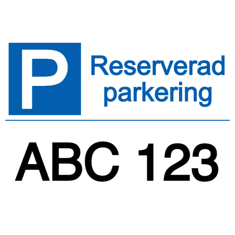 Reserverad parkering + text