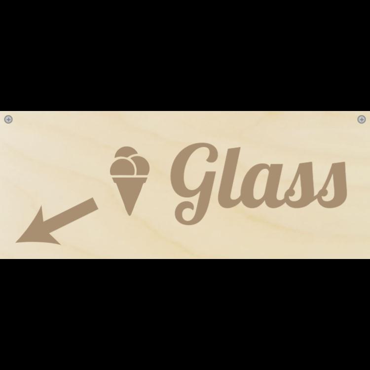 Trä glass kategori tecken