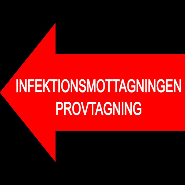 Infektionsmottagningen provtagning skylt