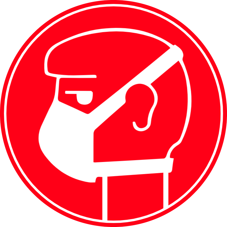 Ansiktsmask - rött klistermärke