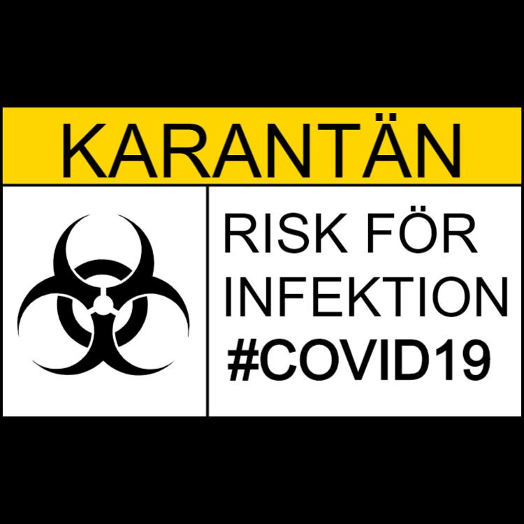 Karantän - Risk för infektion - klistermärke