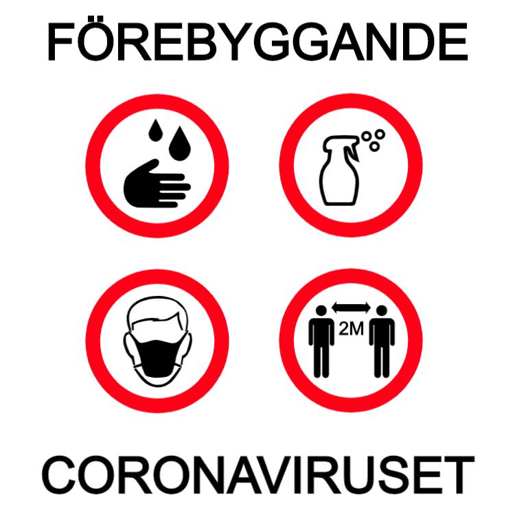 Förebyggande coronaviruset skylt