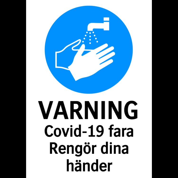 Varning - Covid-19 fara, Rengör dina händer
