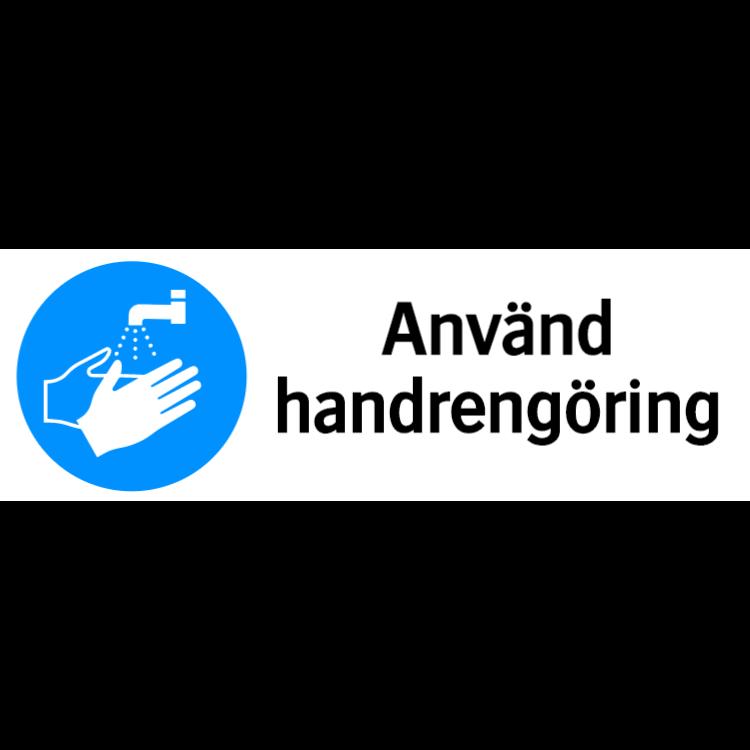 Använd handrengöring skylt