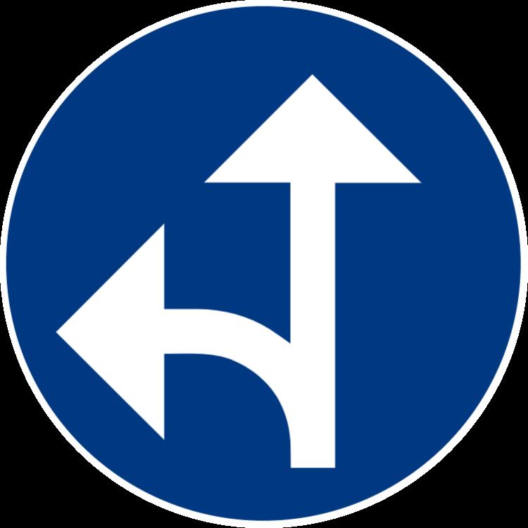 Påbjuden körriktning rakt fram eller vänster
