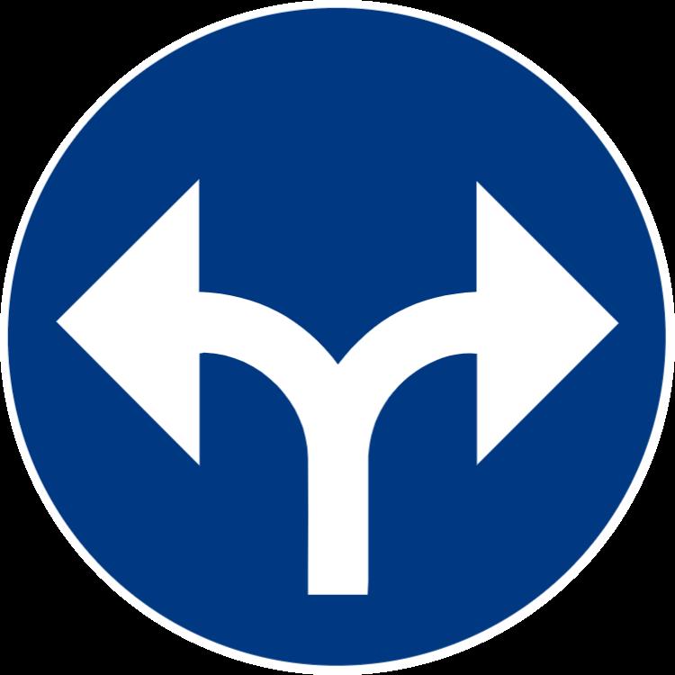 Påbjuden körriktning höger eller vänster