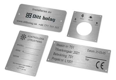 Etiketter i rostfritt stål