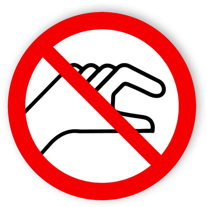 Placera händerna förbjudna