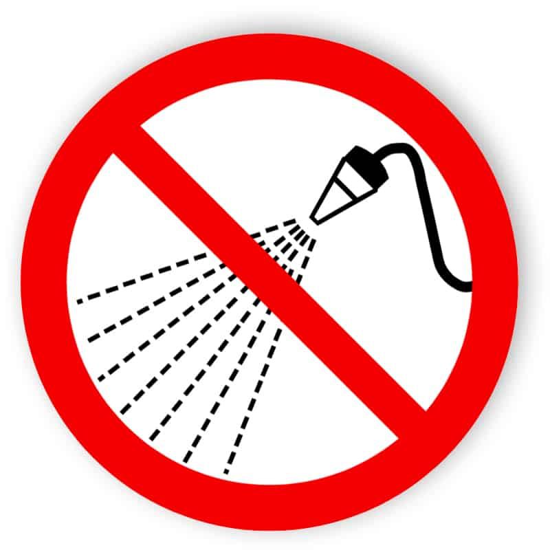 förbjuden vattenbesprutning