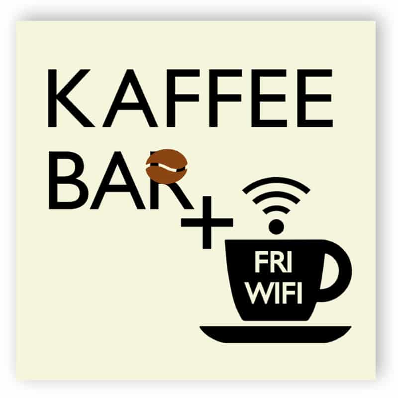 Kafee bar och fri wifi-skylt