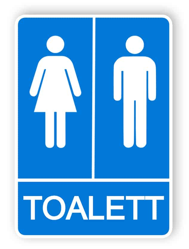 Blå toalettskyltar
