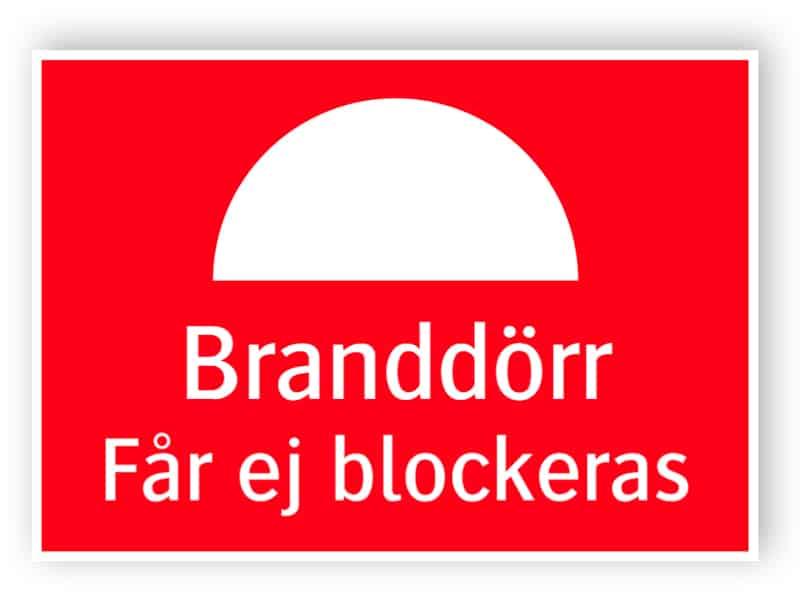 Branddörr – Får ej blockeras