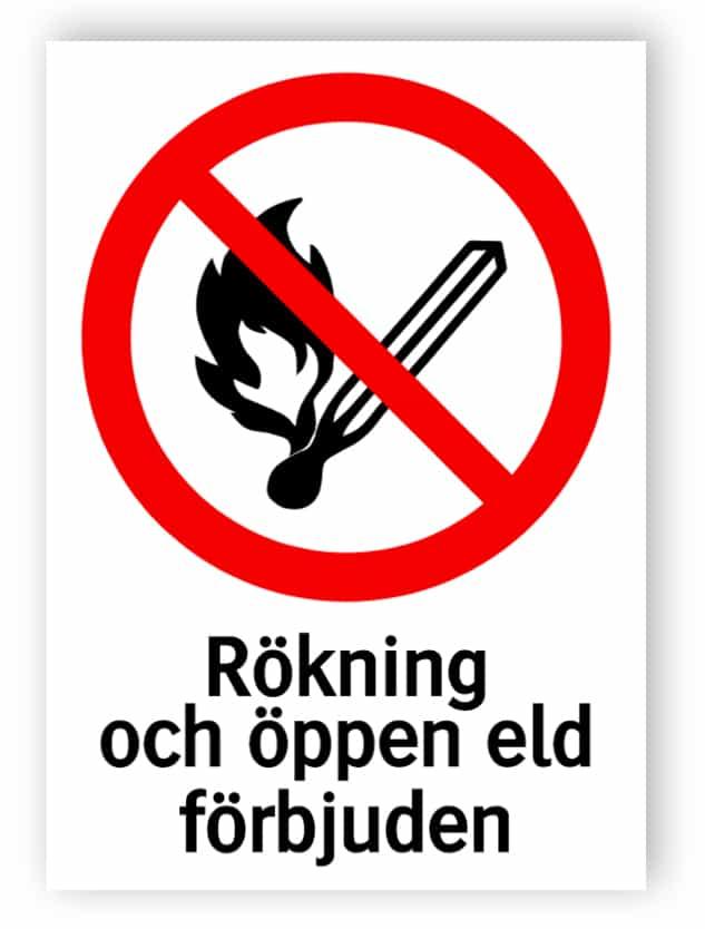 Rökning och öppen eld förbjuden