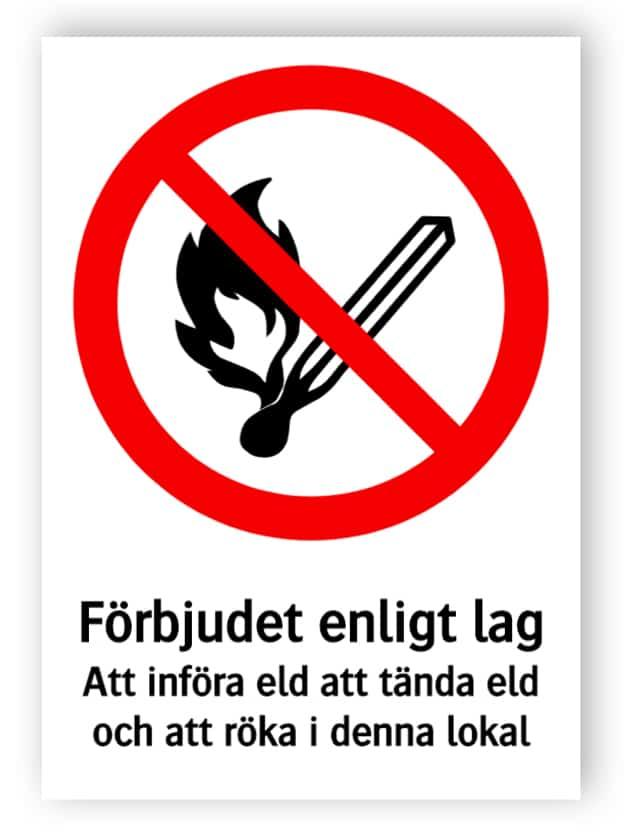 Förbjudet enligt lag Att införa eld att tända eld och att röka i denna lokal