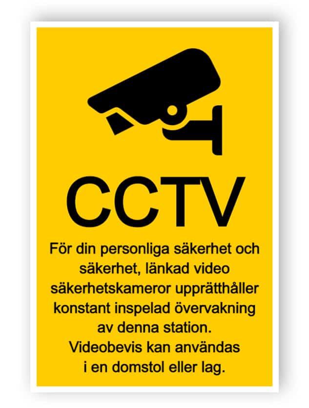 CCTV-tecken med text