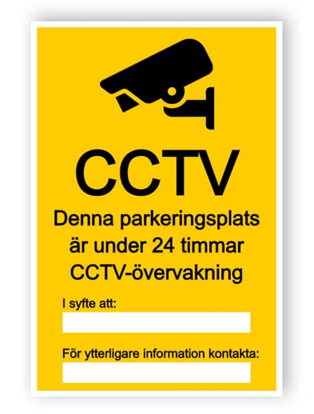 CCTV-tecken för parkeringsplats, med två textlådor