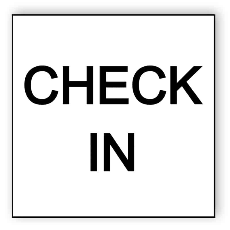 Checka in / check in