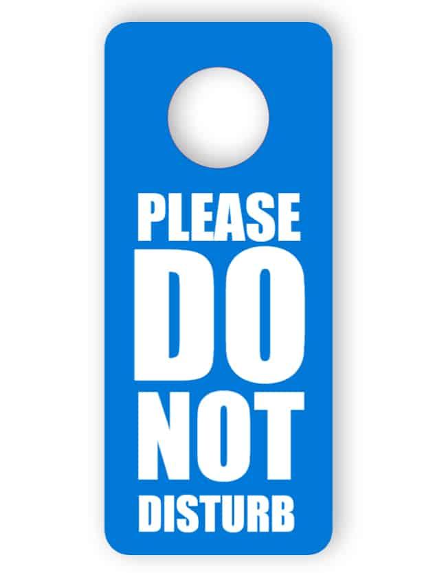 Stör inte i dörrhängaren - blå