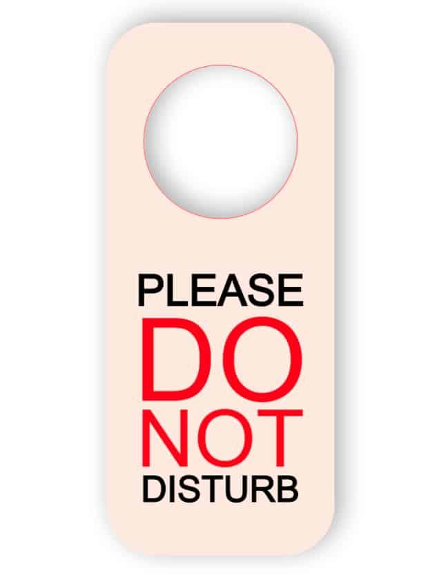 Stör inte på dörrhängaren - tryckt plast