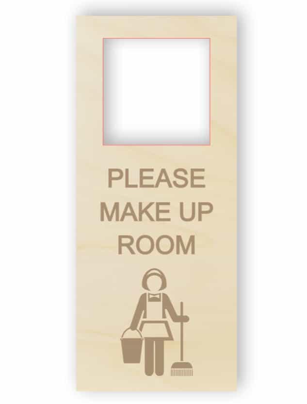 Vänligen fyll i rummet dörrhängare - trä