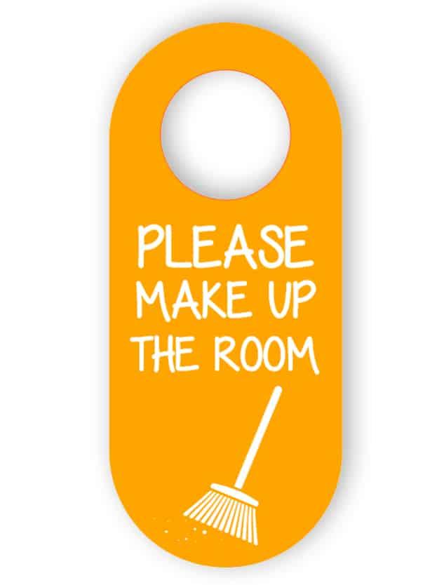 Skaffa rummet dörrhängare - orange
