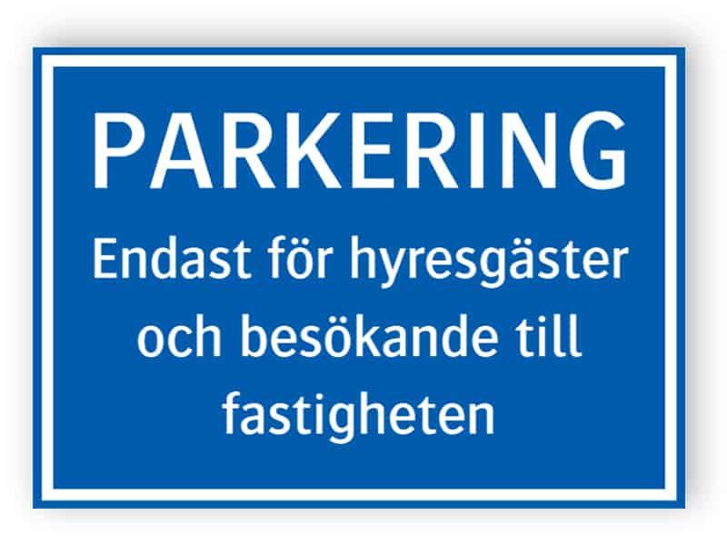 Håva skyltar Parkeringsskylt för väggmontage
