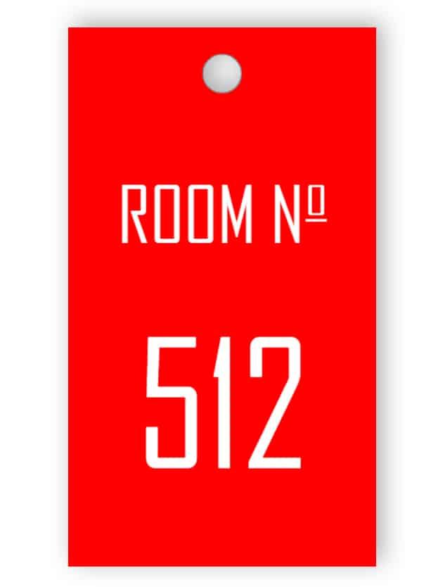 Röd rum nyckel tagg
