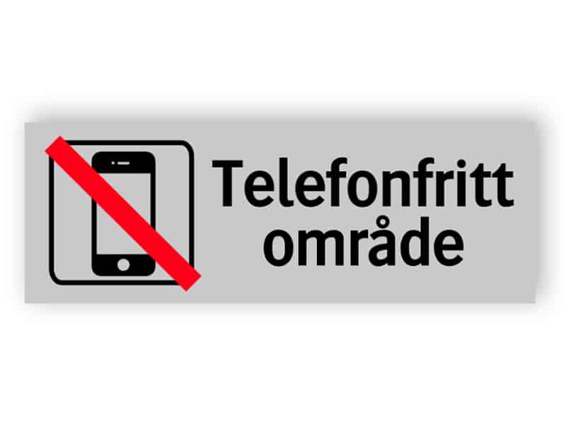 Telefonfritt område skylt