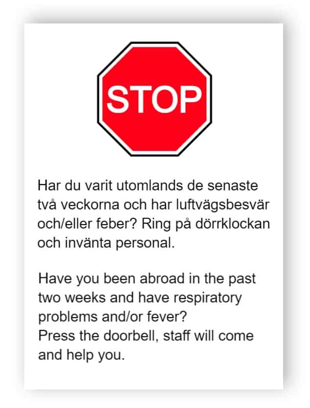 Ring på dörrklockan och invänta personal - klistermärke