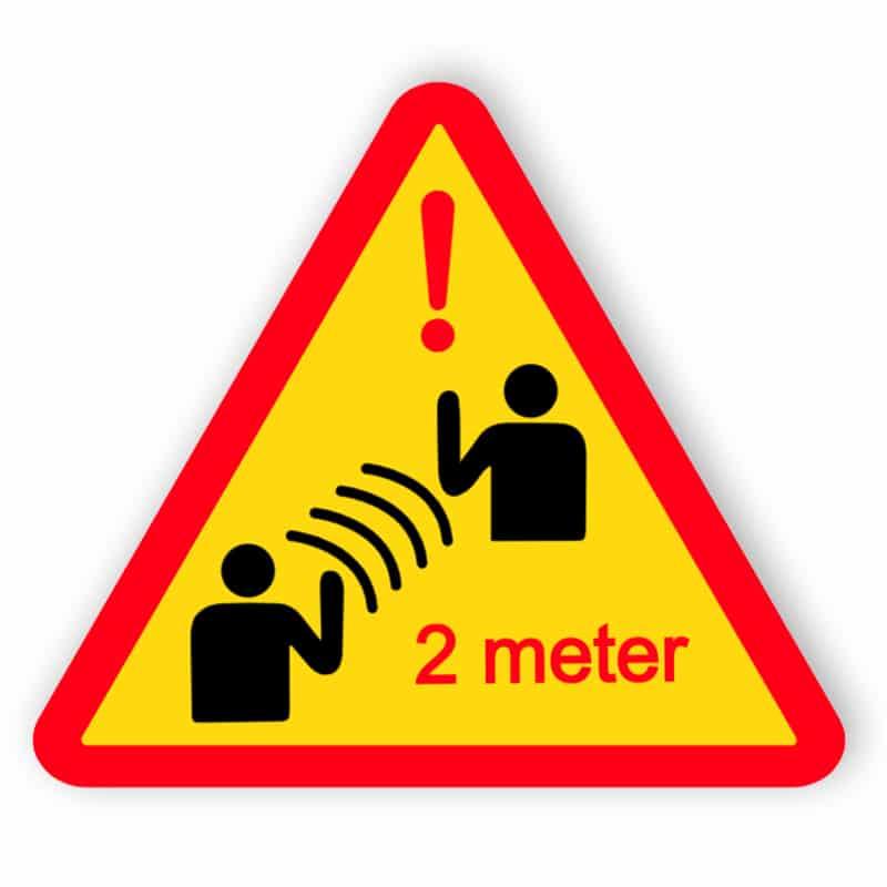 Håll ett avstånd på 2 meter