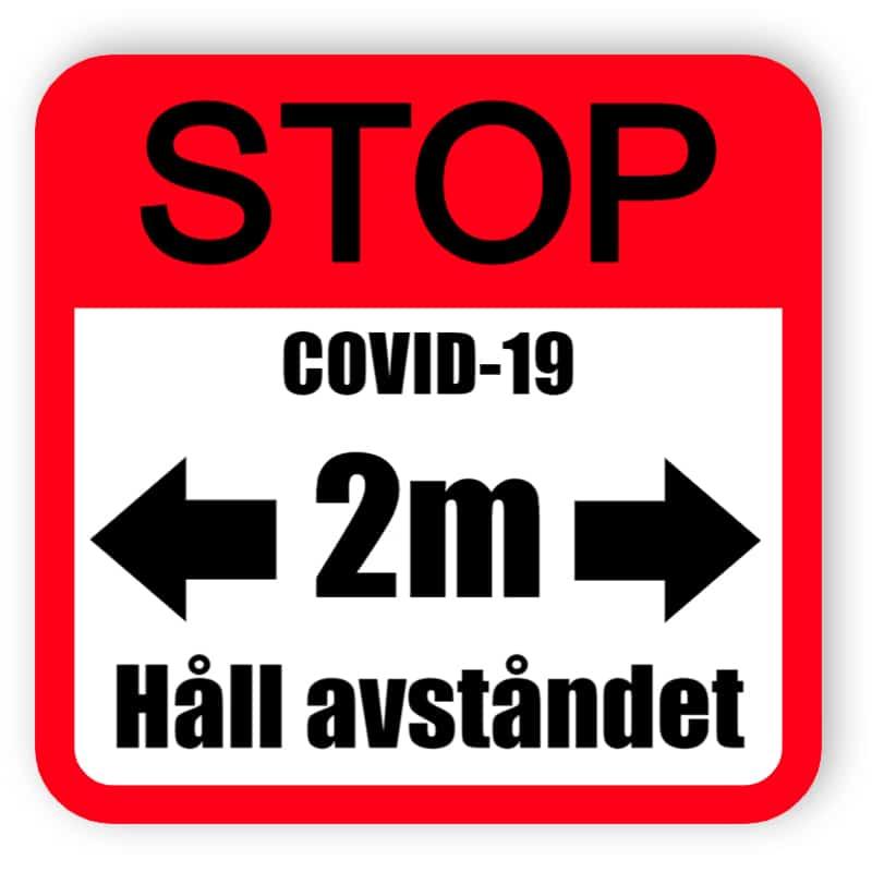 Sluta covid-19, håll avståndet - rött klistermärke