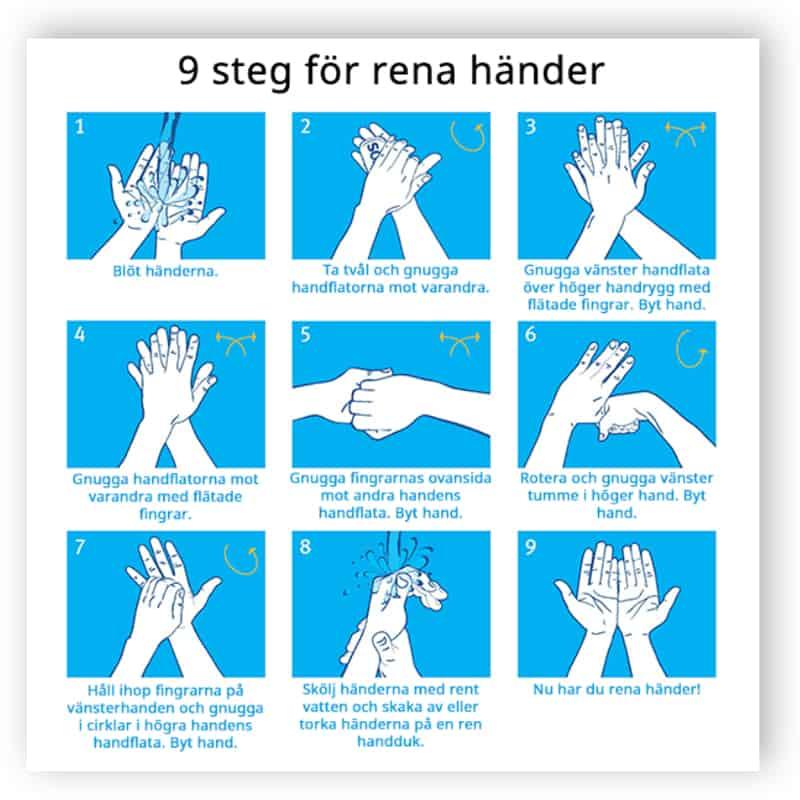 9 steg för rena händer