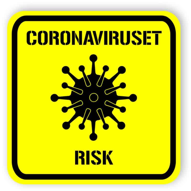 Coronaviruset risk - klistermärke