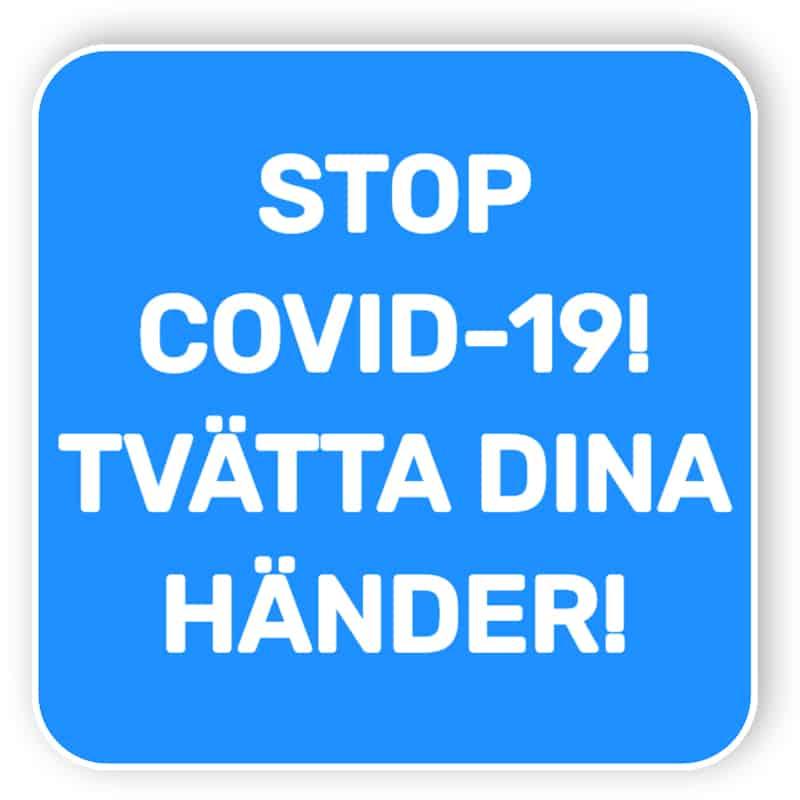 Stop covid-19 - tvätta dina händer - klistermärke