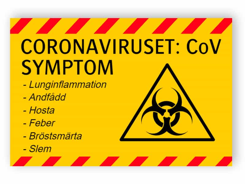 Coronaviruset, CoV, symptom