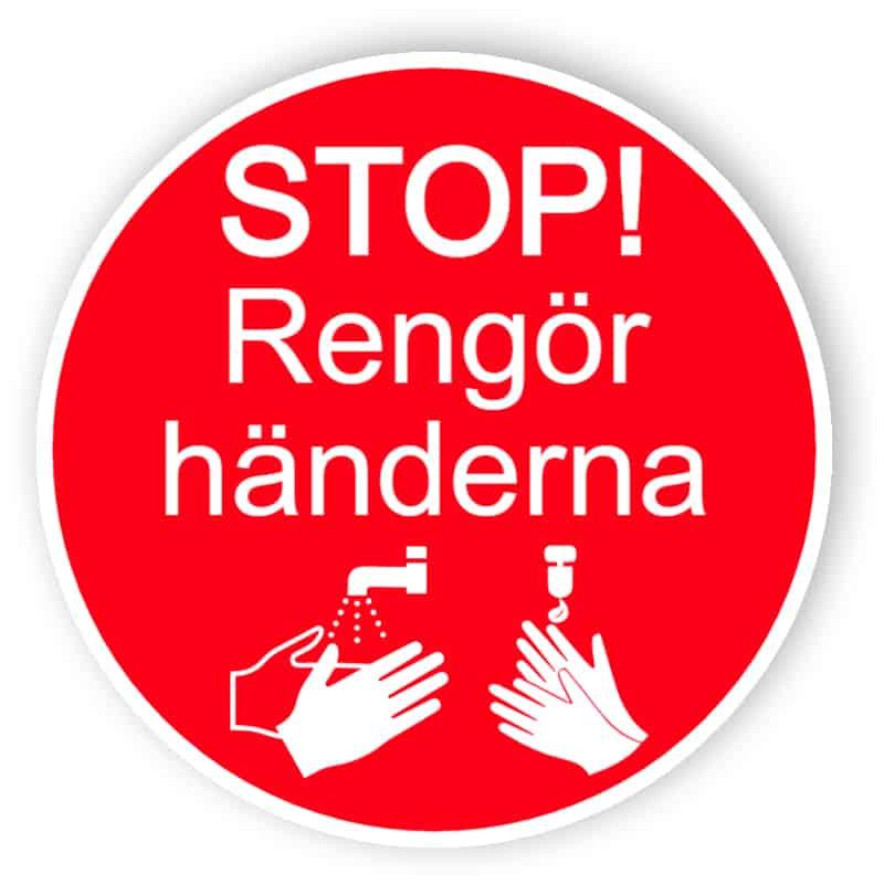 Stop, rengör händerna