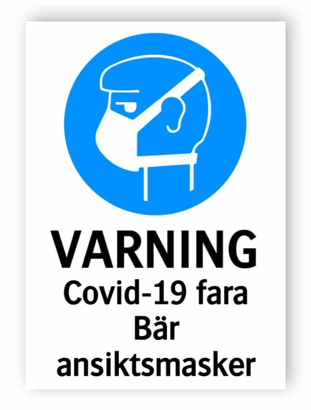 Varning - Covid-19 fara, bär ansiktsmasker