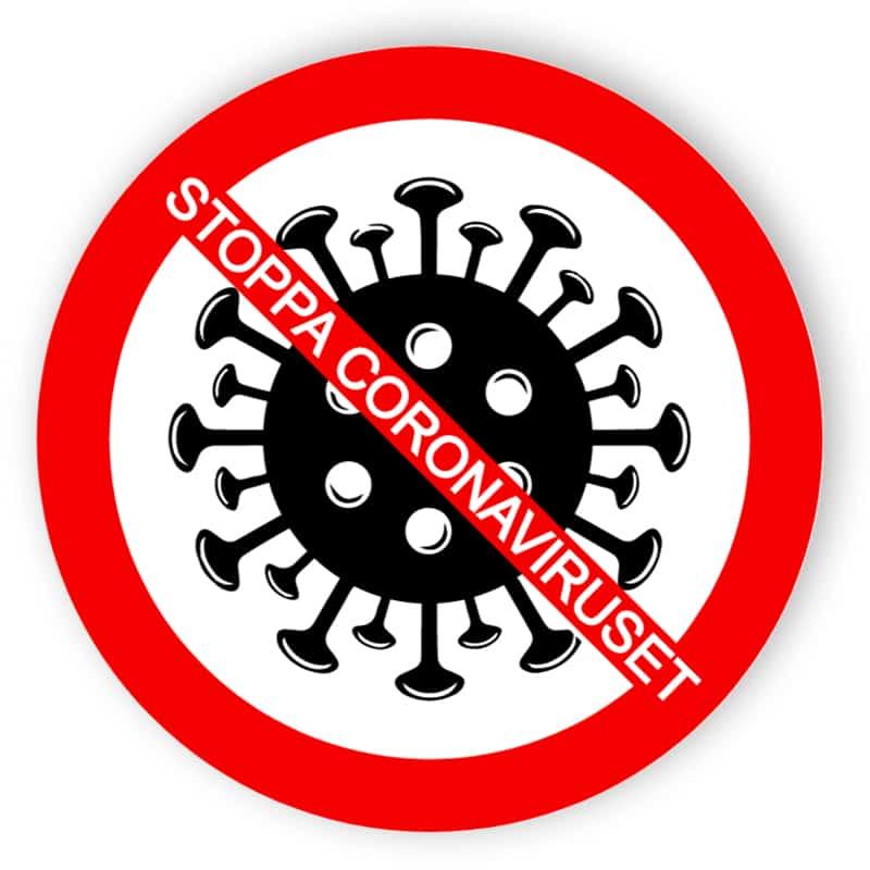 Stoppa coronaviruset - klistermärke