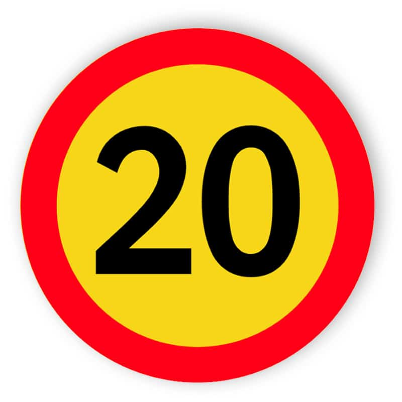 Topphastighet på 20 miles per timme tecken